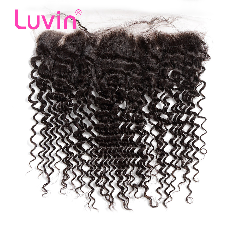 <font><b>Luvin</b></font> OneCut Hair <font><b>Deep</b></font> <font><b>Wave</b></font> Malaysian Curly Hair Lace Frontal Closure 13x4 Bleached Knots With Baby Hair 100% Human Hair Closure image