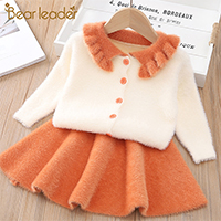 Ha1fc2e16d92b4d3ea4cd8a7fdbaaa167p Bear Leader Girls Dress 2019 Winter Geometric Pattern Dress Long Sleeve Girls Clothes Top Coat+ Tutu Dress Sweater Knitwear 2pcs