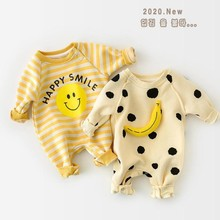 Autumn Baby Romper Baby Dot Banana Print Thicken Long Sleeve Toddler Jumpsuit Kids Boys And Girls Clothes