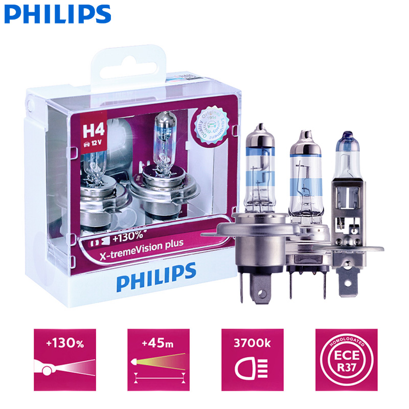 Twin Pack of Bulbs Philips Xtreme Vision 130/% More Light H4 Headlight Bulbs