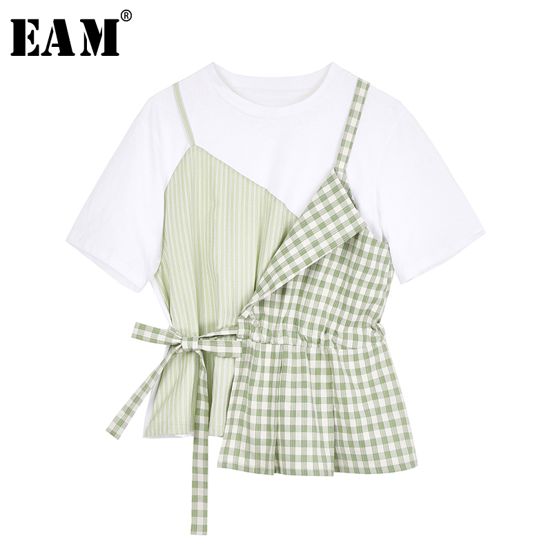 [EAM] Women Green Plaid Split Irregular Drawstring T-shirt New Round Neck Short Sleeve  Fashion Tide Spring Summer 2020 1W822 1