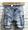 Männer Denim Jeans Shorts Gerade Denim Shorts Multi-pocket-Jeans Gute Qualität Männer Lose Beiläufige Kurze Jeans Knie Länge jeans