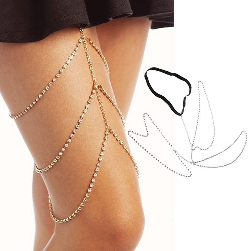Summer Beach Sexy Multilayer Thigh Leg Body Chain Beach 3 Layers Jewelry Belly Body Chains Waist Link Necklace For Women