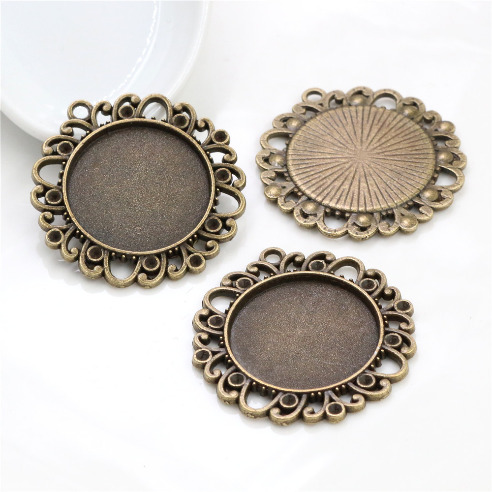 New Fashion  3pcs 25mm Inner Size Antique Bronze Vintage Style  Cabochon Base Setting Charms Pendant (A3-11)