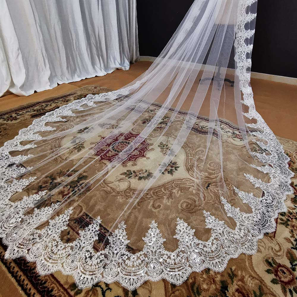 Shine Sequins Lace Cathedral Wedding Veil with Comb 3.5 Meters Long 1 Layer White Ivory Bridal Veil Wedding Accessories