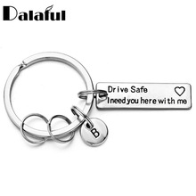 Drive Safe Keychain Engraved Lettering A-Z Letters Keyring Couples Lover Husband Boyfriend Gift For Car P013