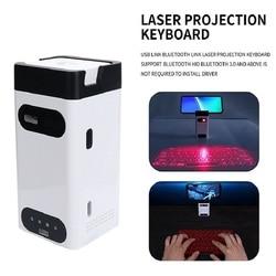 Mini teclado sem fio do laser virtual de bluetooth da projeção com o teclado da função do rato apropriado para o portátil da tabuleta do ipad do telefone do pc