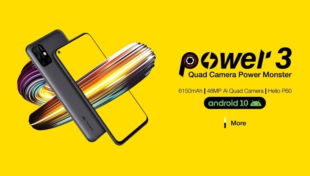 "Ha1fd5223e69a419687c0eeab87a9ae073 UMIDIGI Power 3 Android 10 48MP Quad AI Camera 6150mAh 6.53"" FHD+ 4GB 64GB Helio P60 Global Version Smartphone NFC Pre-sale"