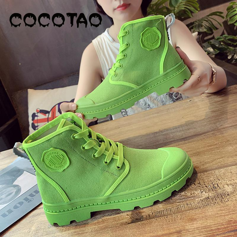 Candy Color High Help Female Canvas Shoes 2019 Summer New Breathable Leisure Martin Boots Tooling British Wind Wet 45
