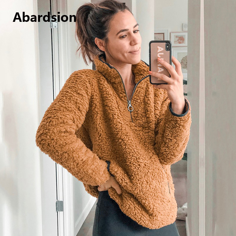 Abardsion Winter Warm Plush Fur Hoodies 2019 Women Sweatshirt Casual Solid Fleece Pullover Hoody Ladies Zipper V Neck Hoodie
