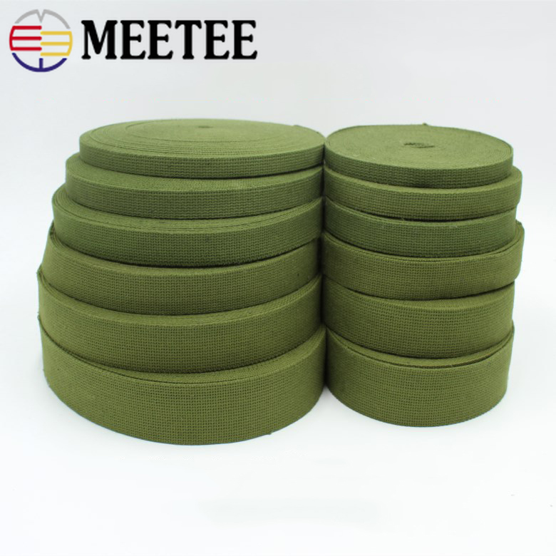 10Yards 15mm 20mm 25mm 30mm 38mm 50mm Polyester Cotton Army Green Canvas Strap Nylon Webbing Trim Safety Bags Belt Crafts