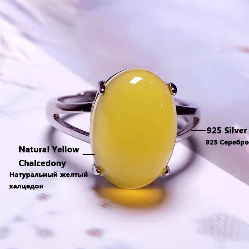 Jadery เงิน 925 แหวนหยกสีเหลืองธรรมชาติแหวนอัญมณี Topaz Wedding เงินสเตอร์ลิงเครื่องประดับคริสต์มาส anillo Plata