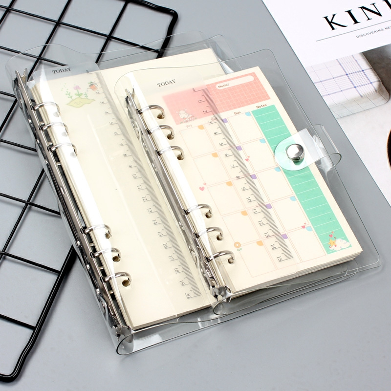 A5/A6 Transparent PVC Loose Leaf Binder Notebook With 45 Sheets Refills Note Book Journal Planner Office Stationery Supplies