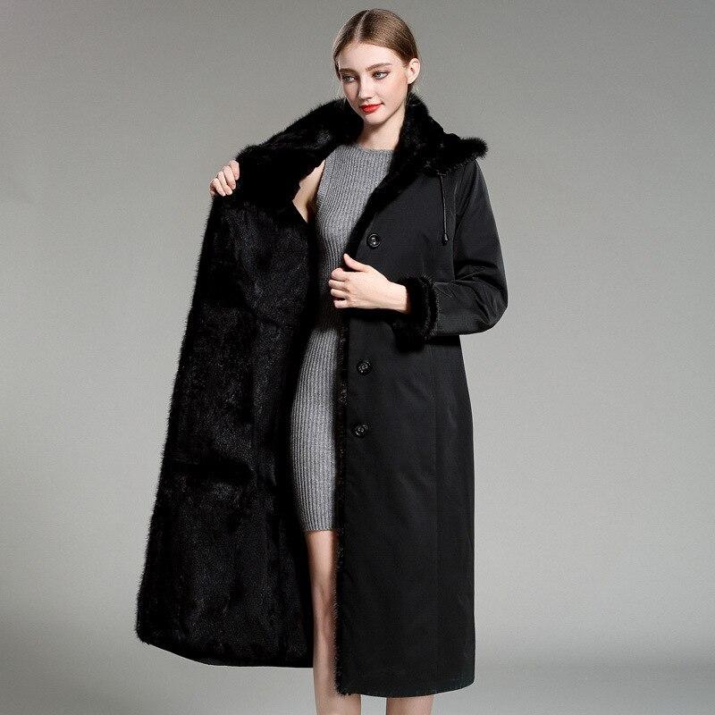 Vintage Hooded Long Parka Jacket Women Natural Real Rabbit Fur Inside Coat Parka Ladies Winter Warm Thick Snow Outwear Overcoat