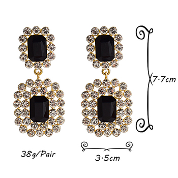 Luxury Crystals High-quality Stone Studded geometric Drop Earrings 6