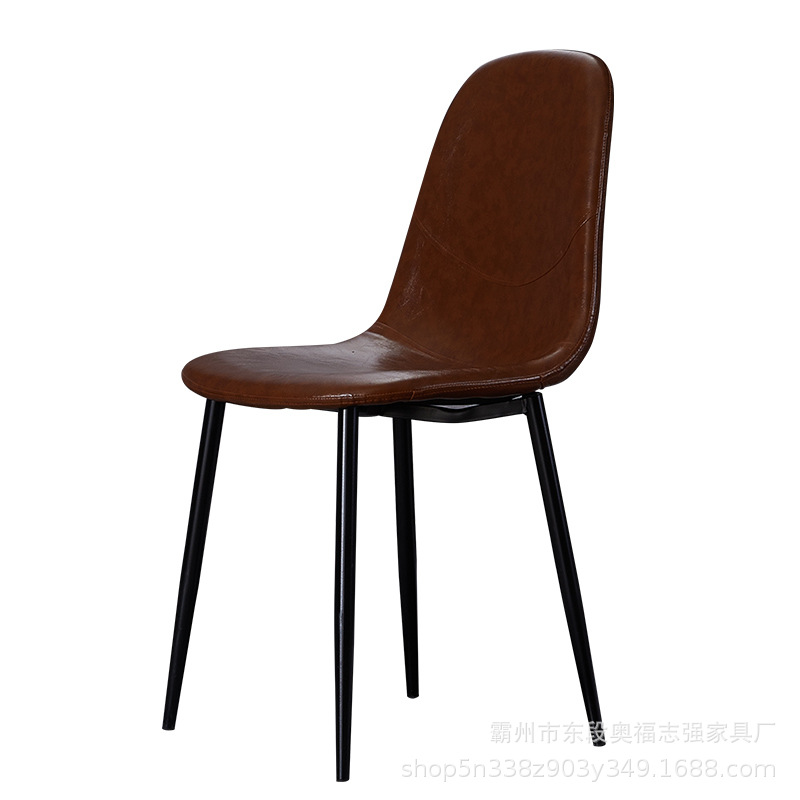 New Nordic Light Luxury Dining Chair Post Modern Home Restaurant Stool Creative Art Leather Back Metal Fashion
