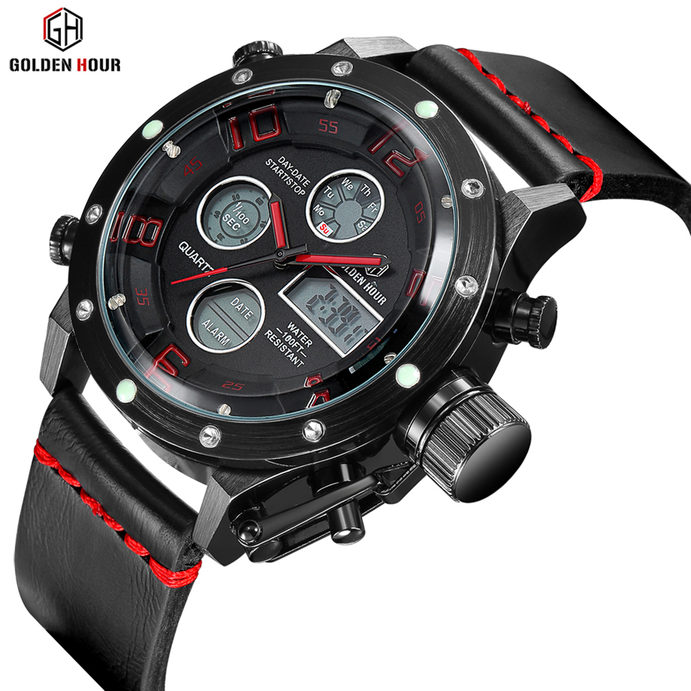GOLDENHOUR Top Brand Luxury Mens Watch Business Army Men Quartz Wristwatch Leather Strap Waterproof Male Clock Relogio Masculino