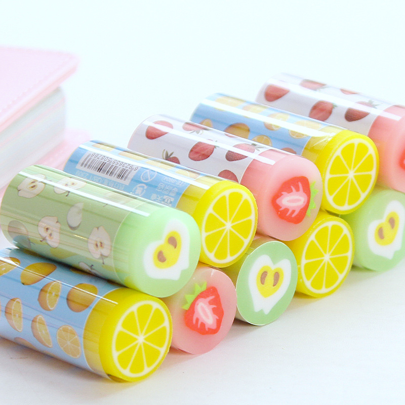 Kawaii Fruit Rubber Eraser Cute Orange Strawberry Pencil Eraser For Kids Girls Gifts School Stationery Correction Supplies