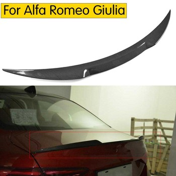 עבור אלפא רומיאו Giulia ספוילר סיבי פחמן האחורי Trunk ספוילר שחור גימור Quadrifoglio ורדה 2015-2017