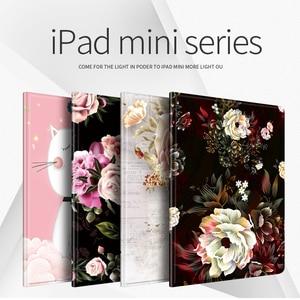 Capa protetora para ipad mini 1/2/3/4/5 tpu moda de couro impresso macio volta 7.9 polegada capa da menina flor dos desenhos animados caso