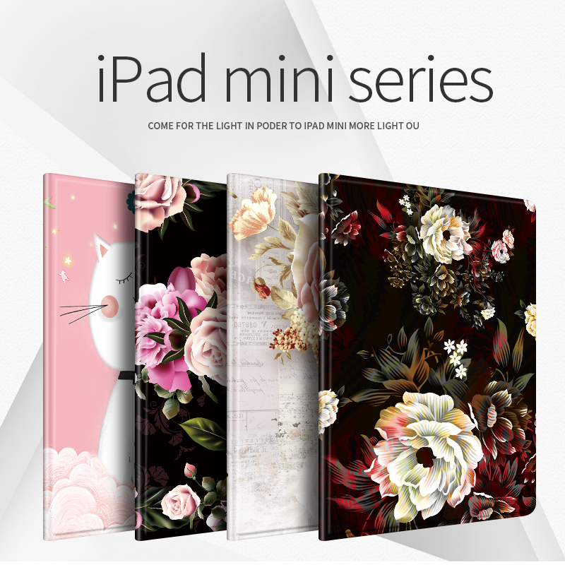 Tablet Pc Protective Case For Ipad Mini 1/2/3/4/5 TPU Leather Fashion Printed Soft Back 7.9 Inch Cover Flower Girl Cartoon Case