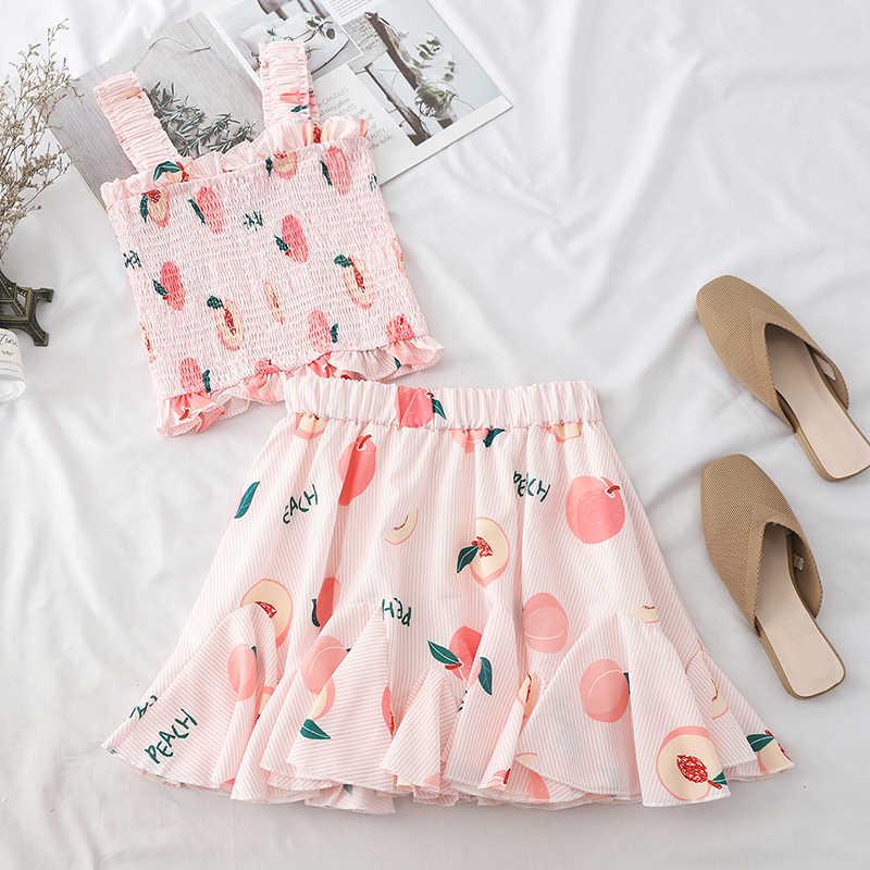 HELIAR 女性甘いピンクツーピーススーツの果物プリントトップスとプリーツ倍ミニスカート夏の休暇セット