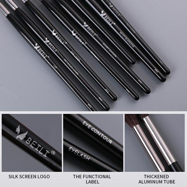 BEILI Makeup Brushes Set 18pcs Black Professional Natural Goat Pony Eyeshadow Eyebrow Blending Eyeliner make up brush set 5