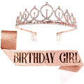 Rose Gold Birthday Party Decoration Glitter Sash Crystal Crown Set for Girls Queens Tiara Happy Birthday Anniversary Supplies