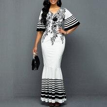 White African Women Dress Mermaid 2020 Summer Floral Printed Half Sleeve Long Dresses Robe Elegant Female Maxi Party Vestiods stylish argyle printed long sleeve belted maxi dress for women