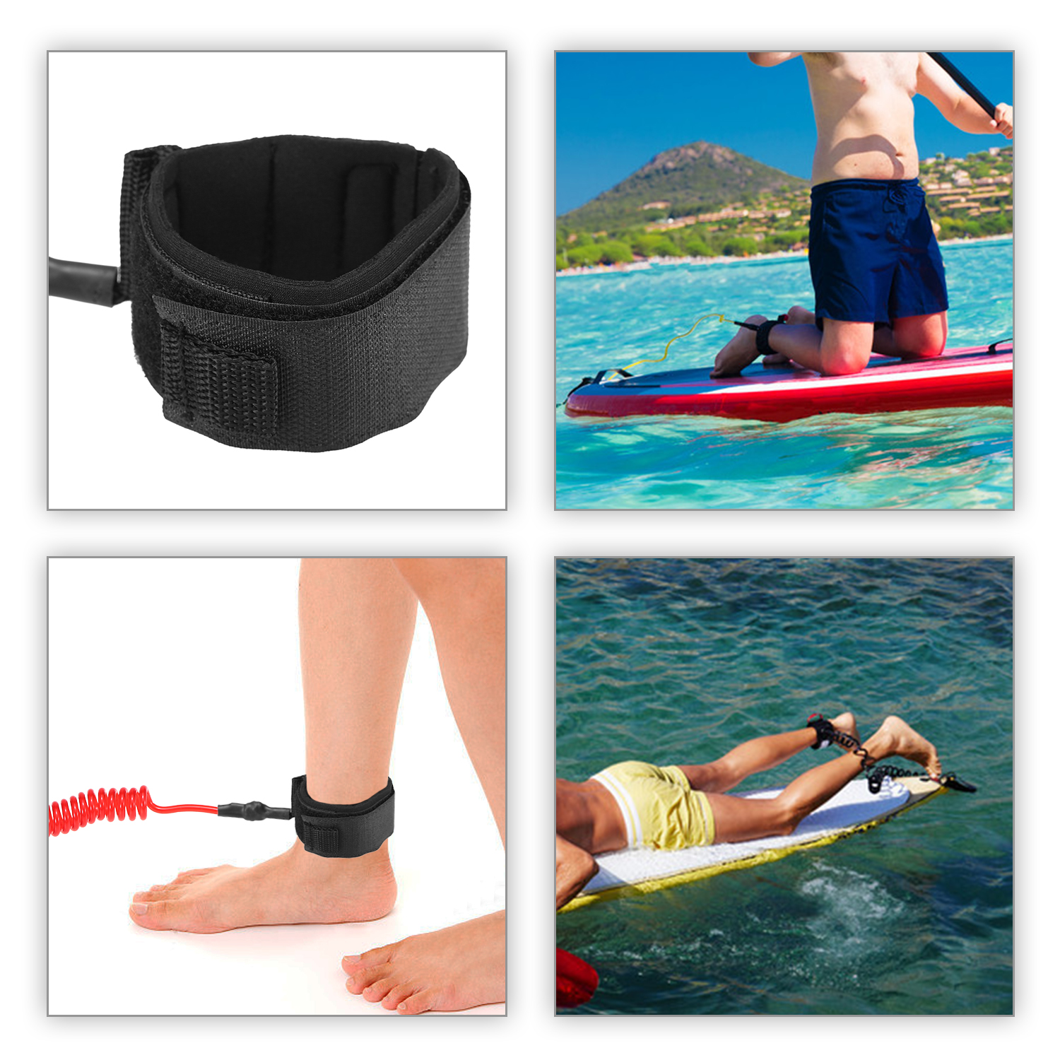 Surf Sup 4 Feet Ankle Leash Surfing Elastic Coiled Stand UP Paddle Board Leg Rope Surfboard Ankle Leash