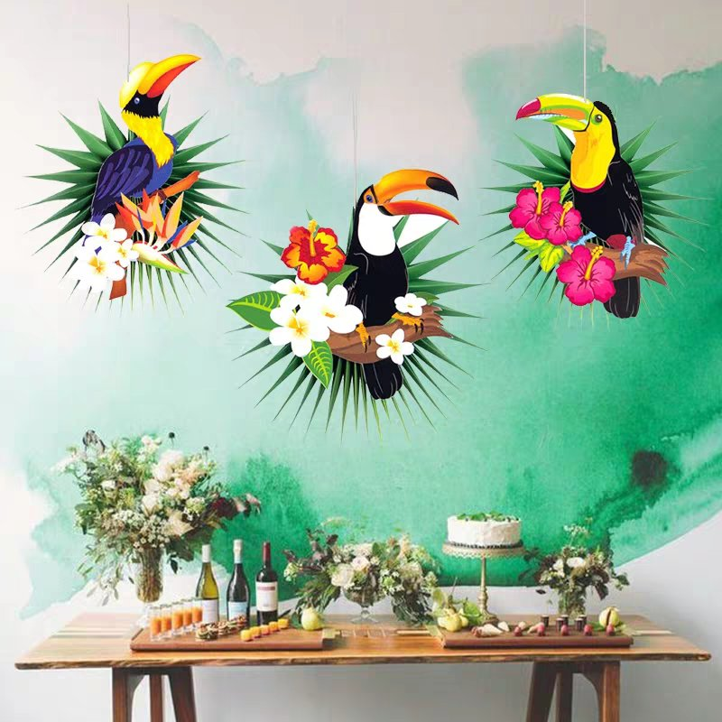 3PCS Toucan Palm Leaves Hawaiian Toucan Tropical Jungle Party Decorations Hanging Paper Fans Flamingo Summer Birthday Decoration