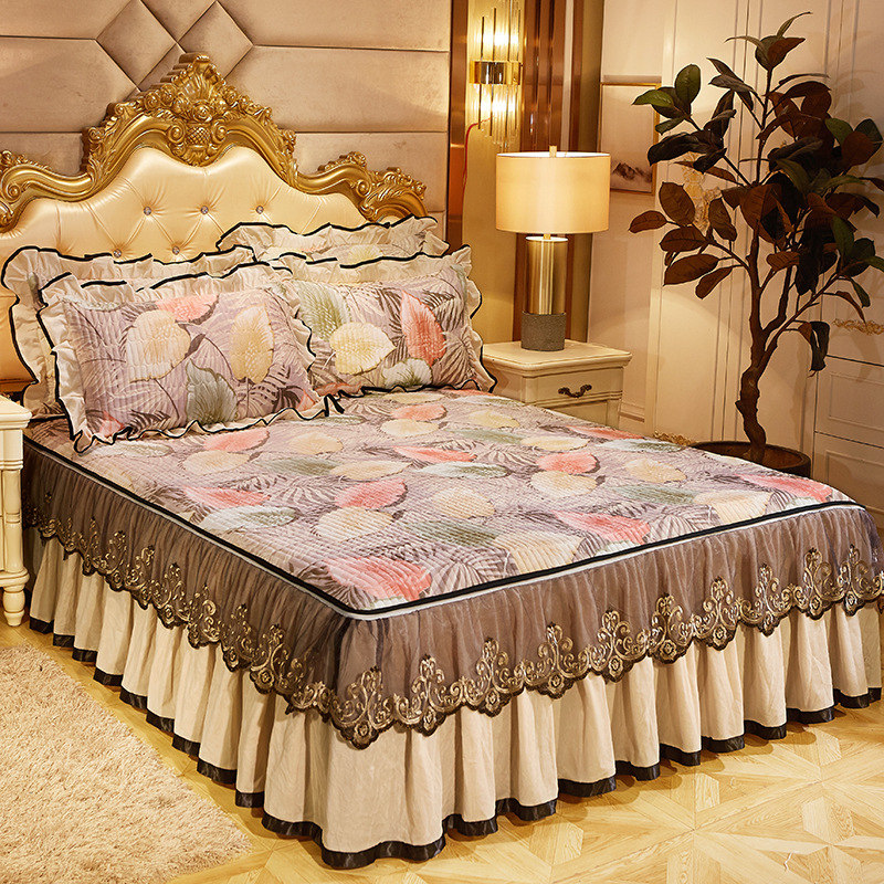 Thick Floral Velvet Zippered Bed Cover Skirt Queen Full Size Bedspreads Set New