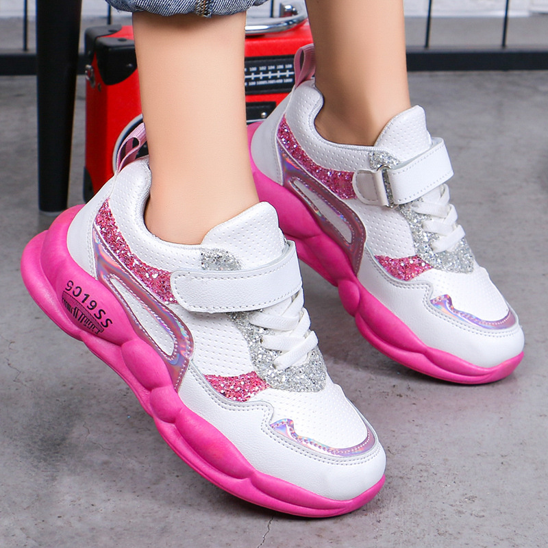 Autumn New Children's Shoes For Girls Mesh Breathable Sports Shoes Baby Kids Casual Girls Running Shoes Leather Student Sneakers