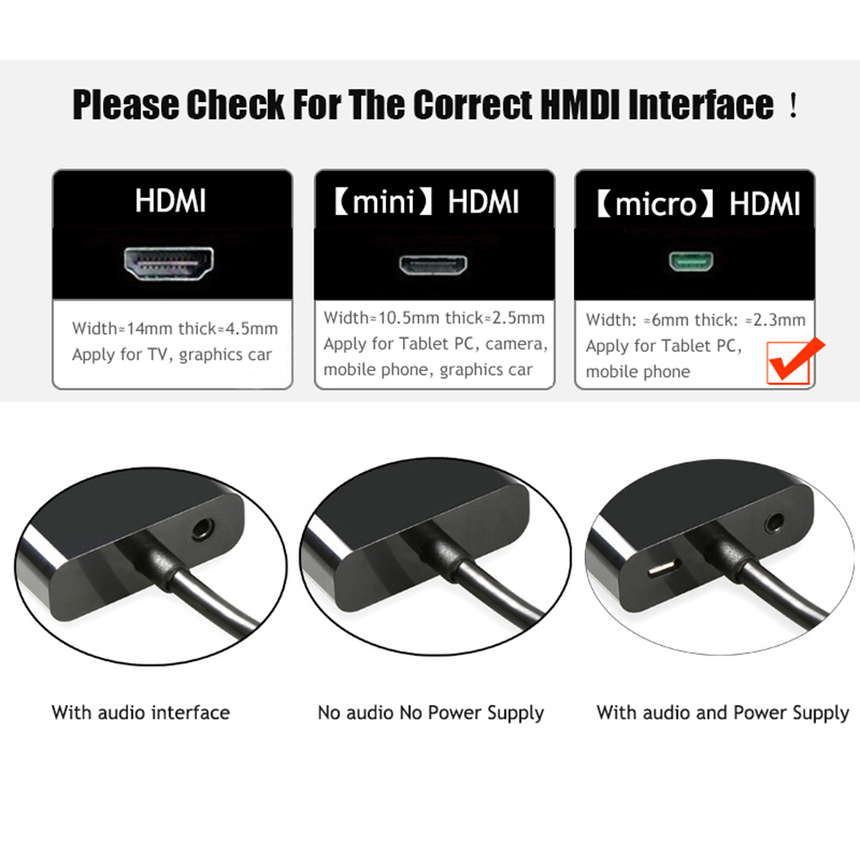 Micro HDMI to VGA Video Audio Power Supply Converter Adapter Cable For PC HDTV Display Projector 1080P Speaker PS3 (3)