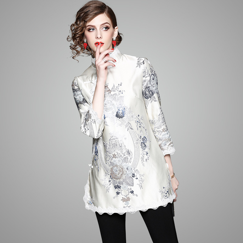 Chinese-style 2019 Spring New Style WOMEN'S Dress Stand Collar Three-quarter-length Sleeve Elegant Gai Liang Kuan Cheongsam Chin