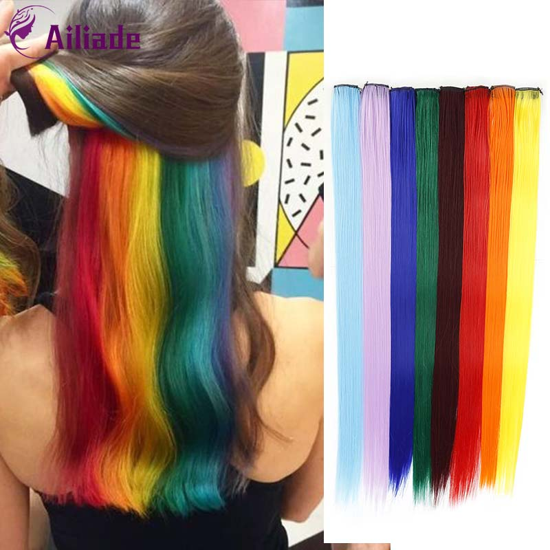 AILIADE Straight Clip In One Piece Long 24inches Heat-resistant Synthetic Extension Hair Purple Yellow Green Rainbow Strand