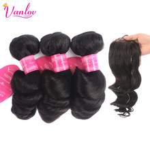 Vanlov Hair Brazilian Loose Wave Bundles With Closure 4 Bundles With Closure Human Hair Bundles With 4*4 Lace Closure Remy Hair(China)