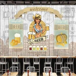 Image 5 - 유럽과 미국 스타일의 복고풍 나무 보드 배경 맥주 벽화 벽지 레스토랑 바 KTV 산업 장식 벽 종이 3D