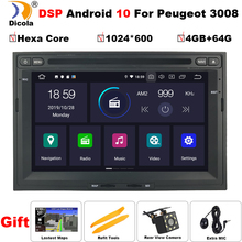 DSP 4G + 64G Android 10 Auto DVD Player Für Peugeot 3008 5008 Partner 2008-2016 Multimedia GPS Navigation Steuergerät Radio Bluetooth