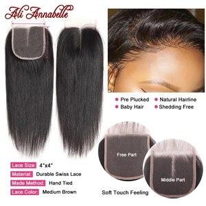 Image 5 - ストレートヘアの束でマレーシアの髪3バンドルと閉鎖4 × 4のレースの閉鎖とバンドルアリアナベル髪