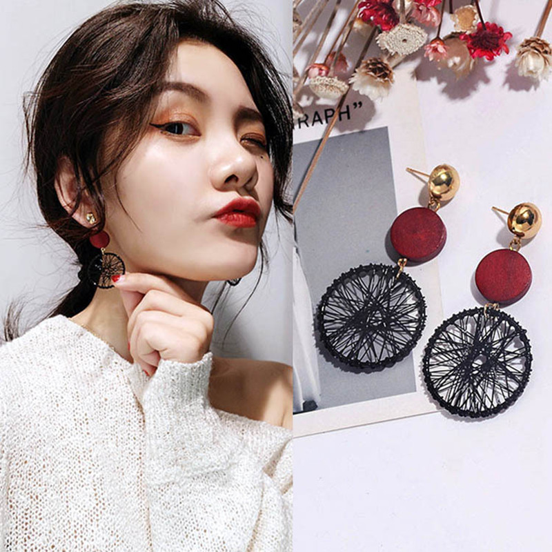 Korean Personality Temperament Hollow-out Pattern Wooden Pendant Earrings For Women Wholesale