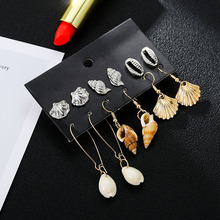 6 pairs/set new trendy golden silver metal statement earrings boho natural seashell conch dangle drop for women girl
