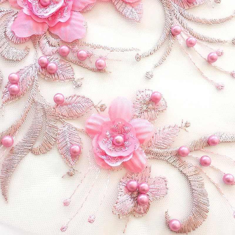 Mode broderie perlée dentelle fleur Costume enfants accessoires tissu fleur broderie Patch Applique bricolage dentelle accessoires