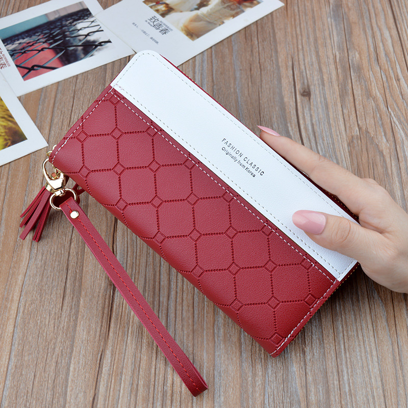 Fashion Long Pu Leather Women Wallet Plaid Tassel Wallets For Woman Wallet Purse Clutch Credit Card Holder Women's Wallet