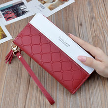 Fashion Long Pu Leather Women Wallet Plaid Tassel W