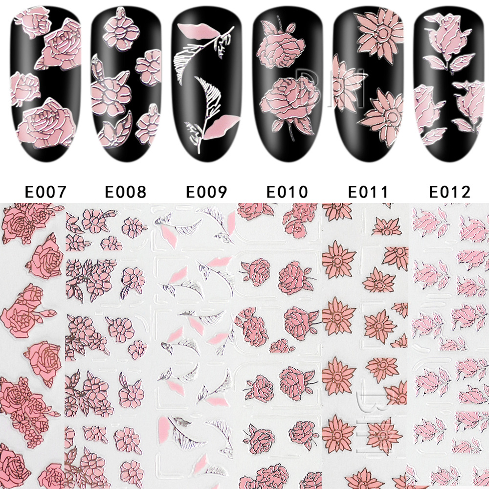 Manufacturers Direct Selling Nail Manicure Stickers 3D Flower Stickers E Series Nail Sticker Manicure Relief Pink Flower 12 Colo
