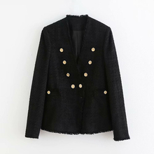 Fashion Black Color Blazer Women Double Breasted Long Sleeve Casual Coat Female V Neck Button Elegant Jacket Outwear Veste Femme color block double button mens casual blazer