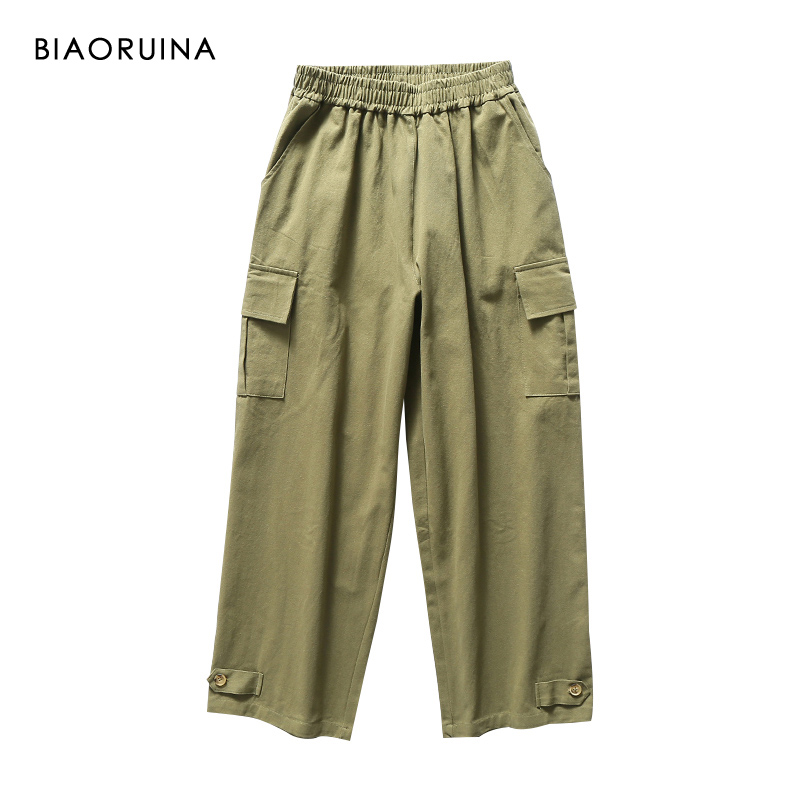 BIAORUINA Women's Safari Style Solid   Wide     Leg     Pant   Female Vintage Cotton Elastic High Waist Loose   Pant   Trouser New Arrival