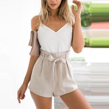 Hot Sexy Women Summer Color Blocks V Neck Backless Sleeveless Jumpsuit Belted Romper Backless Sleeveless Jumpsuit Belted Romper фото