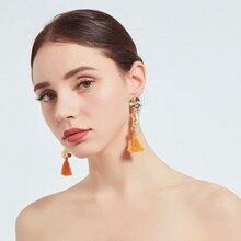 Bohemian Resin and crystal Handmade Tassel Earrings For Women Vintage  Drop Wedding Bridal Fringed Jewelry